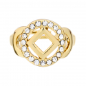 NA service symbol Ring with Clear Swarovski Crystals - Gold Plated
